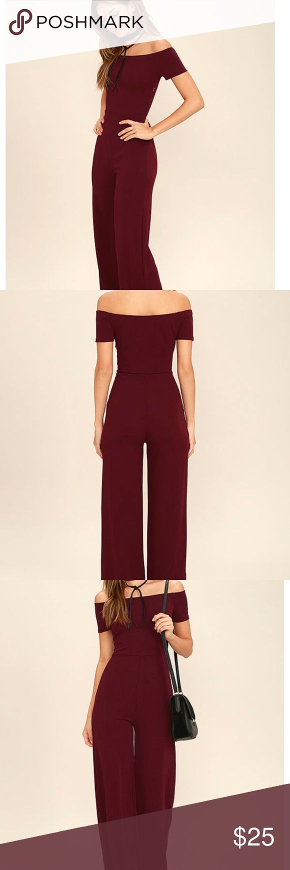 Lulus Off the Shoulder Burgundy Jumpsuit Super cute and trendy off the shoulder jumpsuit. This is great for fall! Only worn once for a formal event, and got so many compliments on it! This jumpsuit is still in stock on Lulu's, so you can get this in perfect condition here at a discounted price! Lulu's Dresses