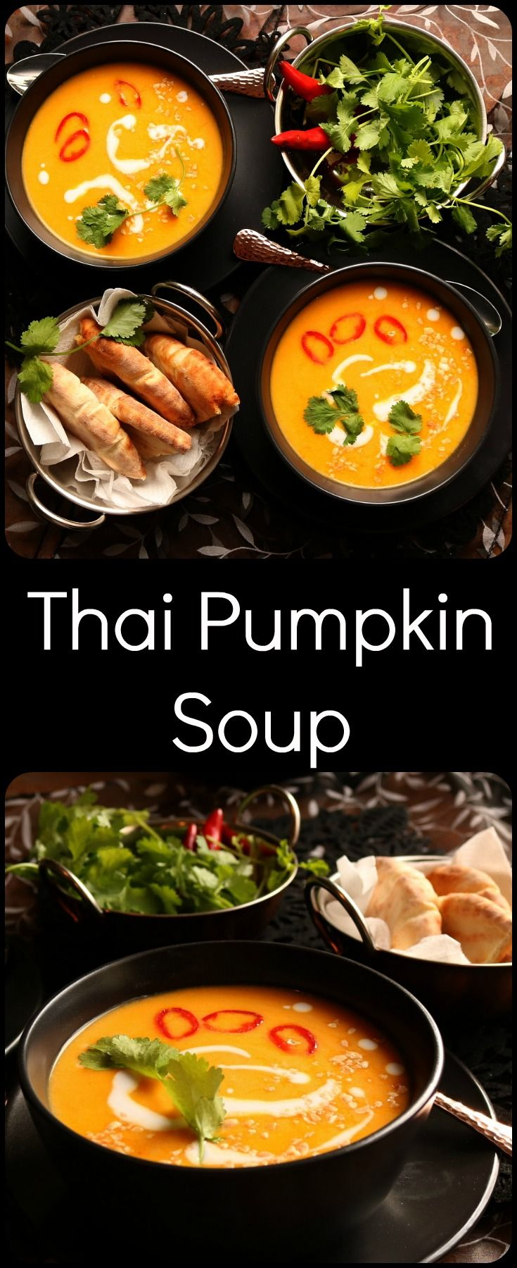 A Thai inspired pumpkin soup made with lemongrass, ginger, garlic, red curry paste and coconut cream, making it a lovely winter warmer.