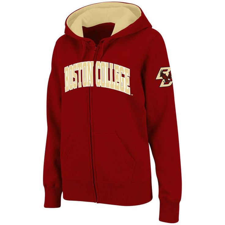 Boston College Eagles Stadium Athletic Women's Arched Name Full-Zip Hoodie - Maroon