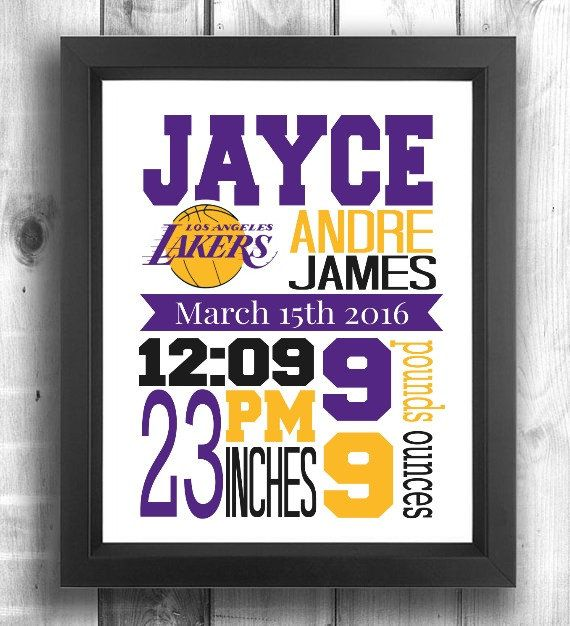 Check out this item in my Etsy shop https://www.etsy.com/ca/listing/286564485/los-angeles-lakers-birth-stats-print