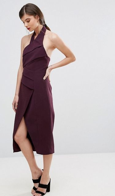 Don't Stop Midi Dress. A gorgeous midi by C/meo Collective. A halter neck style featuring front panel overlay with pleat detail and wrap skirt with split in front hem. #citychic #cocktaildress #partydress #whiterunway
