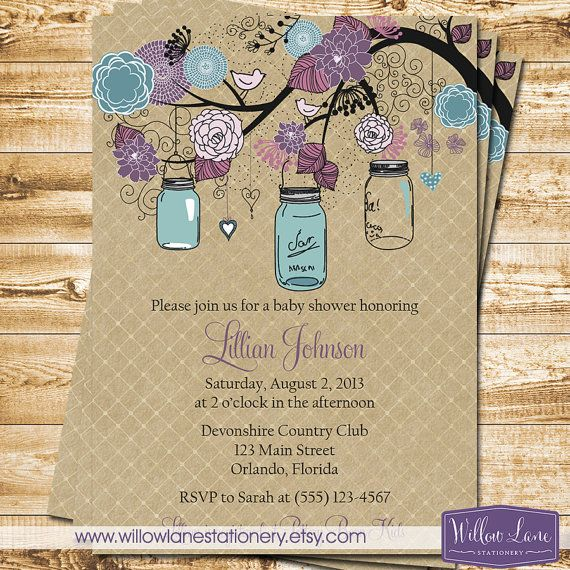 Mason Jar Bridal Shower Invitation Mason by WillowLaneStationery