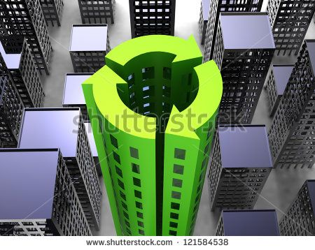 Sustainability Society concept with buildings in the icon of recycling - stock photo