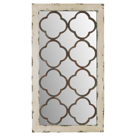 Metal Wall Mirror With Quatrefoil Overlay Product Decor Construction Material And Mirrored Glcolor Distressed White Browndimensions H