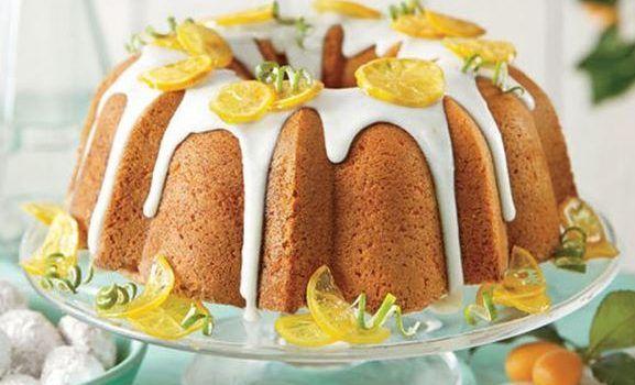 Κέικ λεμονιού με γλάσο λάιμ