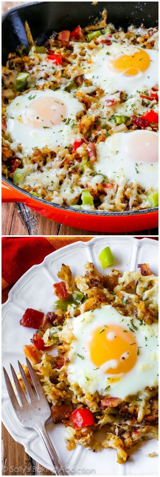Super simple one pan breakfast prepared in a skillet. This gluten free brunch dish starts with super crispy shredded hash browns, peppers, some bacon, and is finished off with eggs and melty cheese.