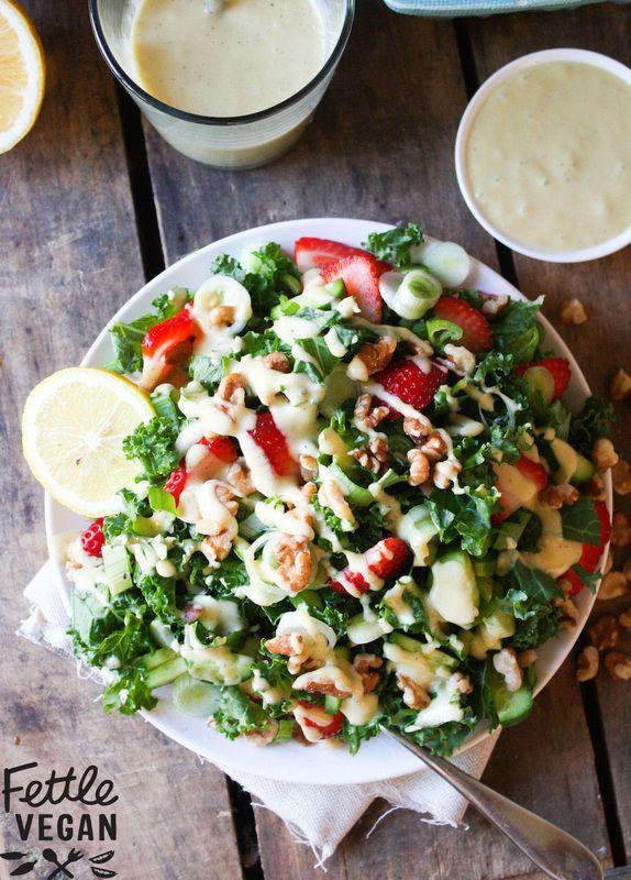Strawberry Walnut Kale salad with creamy Champagne Vinaigrette