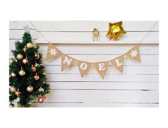 Picture of ❄ NOEL ❆ Christmas Garland Bunting Hessian Burlap Banner Handmade