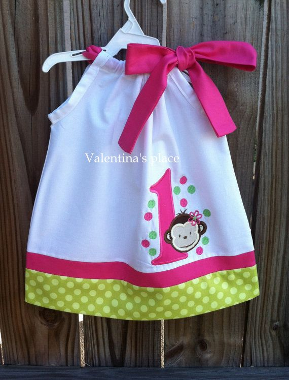 Monkey Girl Birthday pillowcase dress by Valentinasplace on Etsy, $29.00 (Cute idea for a cake smash shoot)