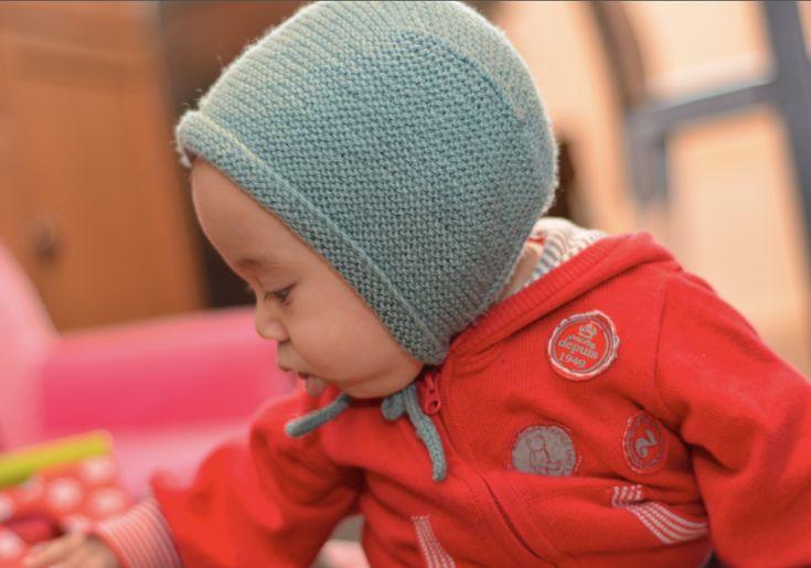 Tuto Béguin d'automne au point mousse | Bonnet bébé tricot, Béguin, Tricot bébé