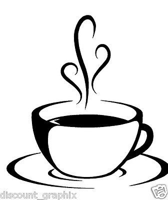 Coffee cup swirls decal sticker kitchen beans cafe wall ...
