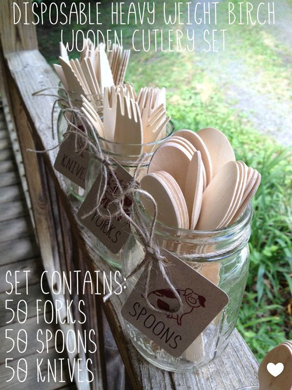 150 Pieces •Disposable Heavy Weight Birch Wooden Cutlery / Utensils • Camping • Picnics • Weddings • 50 Forks • 50 Spoons • 50 Knives • Eco