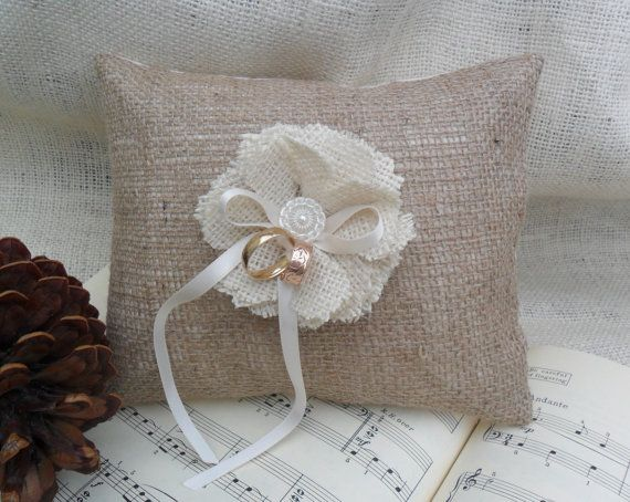 Burlap ring bearer pillow with burlap handmade by ericacavanagh, $34 ...