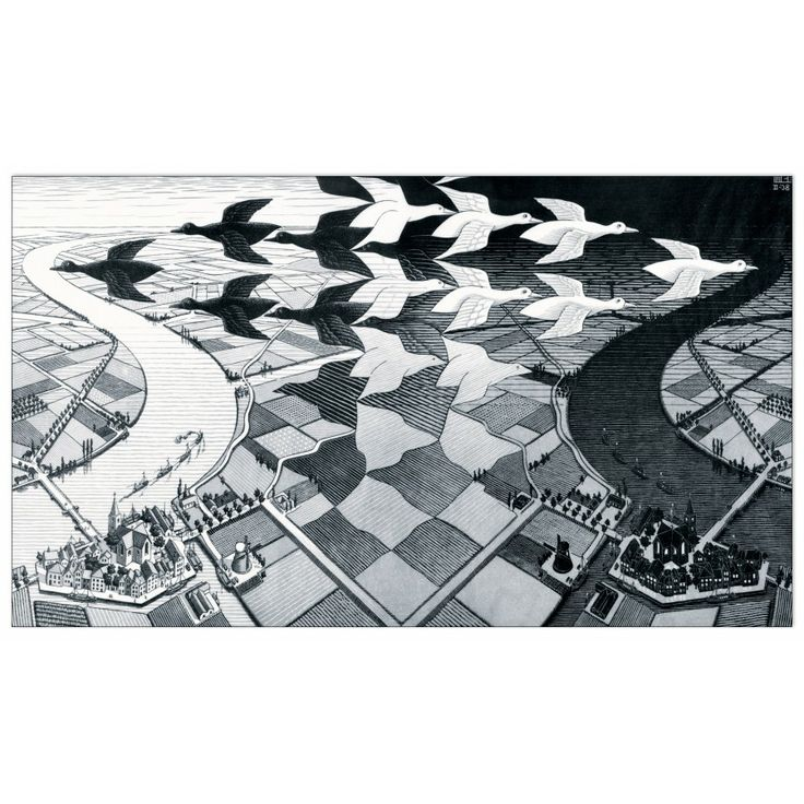 ESCHER - Day and Night 58x34 cm #artprints #interior #design #Escher Scopri Descrizione e Prezzo http://www.artopweb.com/autori/escher/EC15565