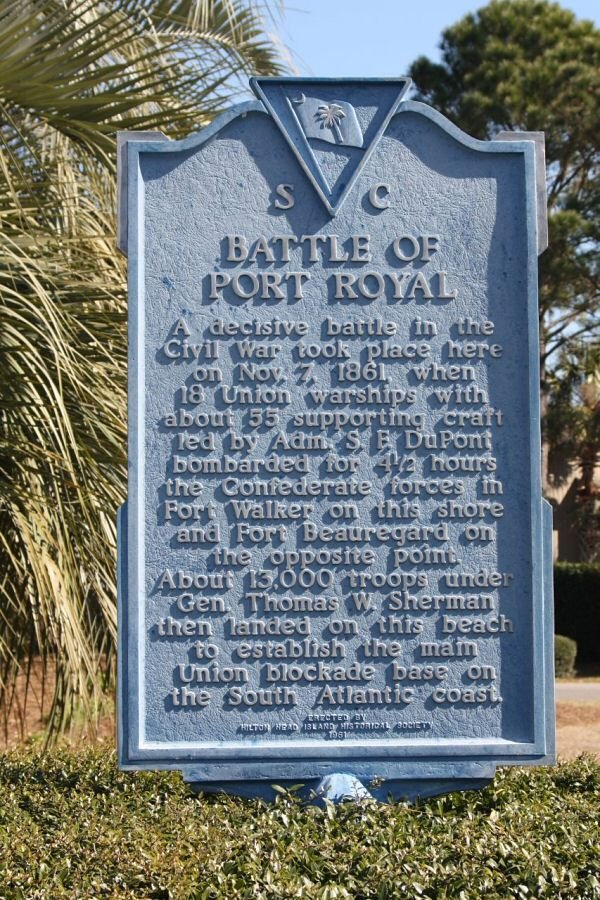 The first major setback of the Civil war was the battle of Port Royal. The Union decided to attack Port Royal because as a base for ships patrolling the southern coast to keep confederacy from importing weapons and exporting cotton. The battle was short because Confederate forts did not stand a chance against Union warships. Because of the Union victory they had control of it for the rest of the war. I choose the history marker because this is what is at Port Royal today.