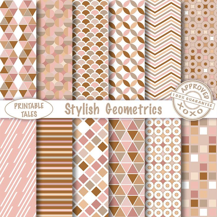 Geometric digital papers - Scrapbook Pages stripes circles triangle chevron Earth Tones - More Info? scroll to Item Details - Commercial use door PrintableTales op Etsy https://www.etsy.com/nl/listing/246154679/geometric-digital-papers-scrapbook-pages