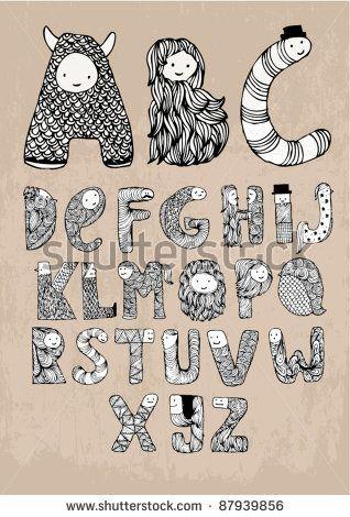stock vector : monster font