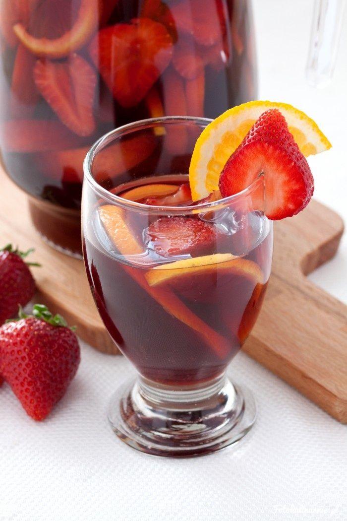 Strawberries, peach, orange and lemon Sangria