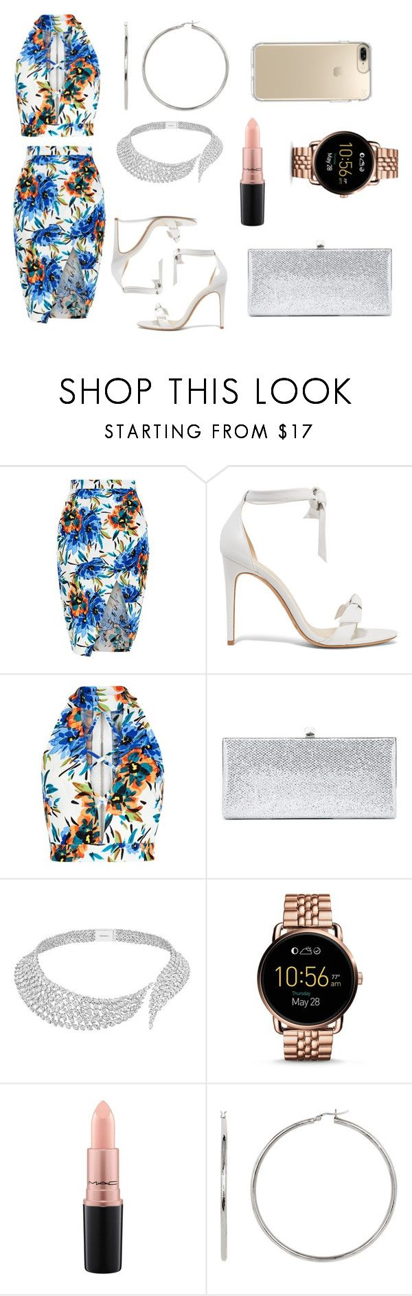 """""""Untitled #431"""" by carline7 ❤ liked on Polyvore featuring New Look, Alexandre Birman, Jimmy Choo, Messika, FOSSIL, MAC Cosmetics and Speck"""