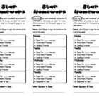 This packet includes all you will need to implement the Star Homework program that is part of the Universal Homework Model by Whole Brain Teaching....