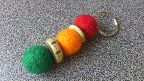 Keyring with 3 needle felted balls in green by FeltedByRikke, $8.00