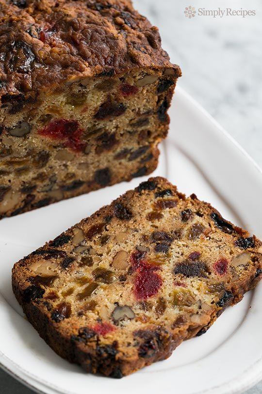 Patricia's Holiday Fruitcake ~ Fabulous holiday fruitcake recipe with dates, raisins, walnuts, glazed cherries, and orange zest.  Christmas fruitcake recipe. ~ SimplyRecipes.com