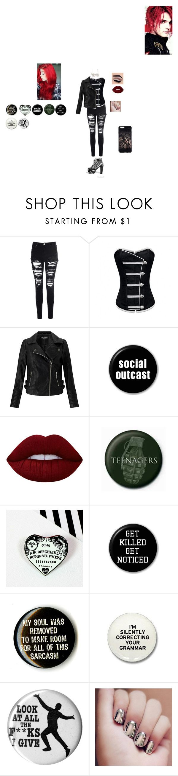 """Gerard Way's Daughter ~"" by giacozz ❤ liked on Polyvore featuring Glamorous, Miss Selfridge and Lime Crime"