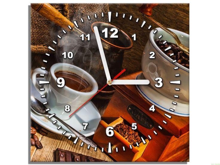 Czas na kawę - zegar na ścianę 30x30 OBRAZY Z ZEGAREM Galeria obrazów Art Verde