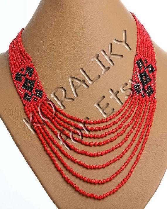 Traditional Ukrainian Folk Handmade Jewelry Beads Beaded NECKLACE Long Gerdan.