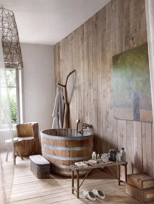 baignoire douche en bois l 39 ancienne convivialit du bois pinterest jardins et maison. Black Bedroom Furniture Sets. Home Design Ideas