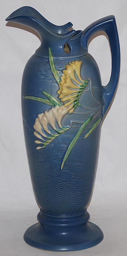 Roseville Pottery Freesia Blue Ewer 21-15