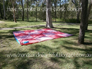 Teddy Bears Picnic 1st Birthday Party- lots of ideas for a teddy bears picnic with instructions to make a pull string pinata and this awesome picnic blanket!