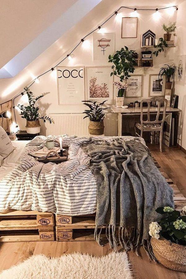 Home Bedroom Bed Frame Pallet Design Platform Bed Furniture Interior Design Bed Frame Property In 2020 Urban Outfiters Bedroom Aesthetic Room Decor Bedroom Decor