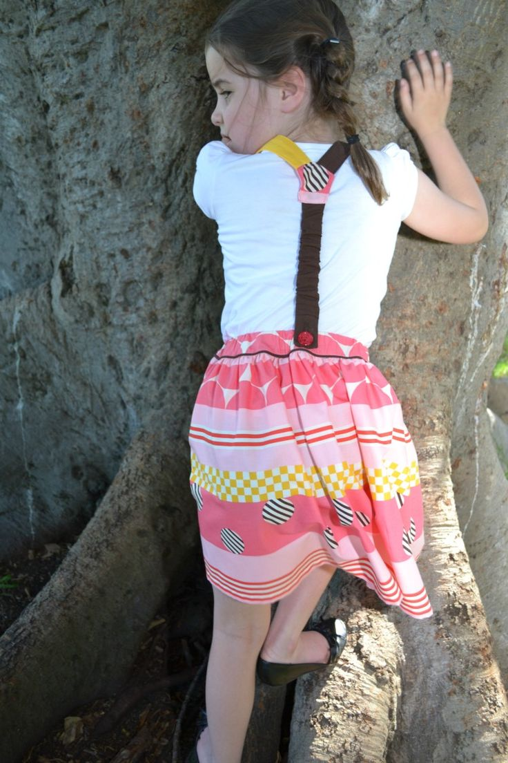 Girl's skirt with braces, size 4/5 & 6/7, Red Dot Stitches