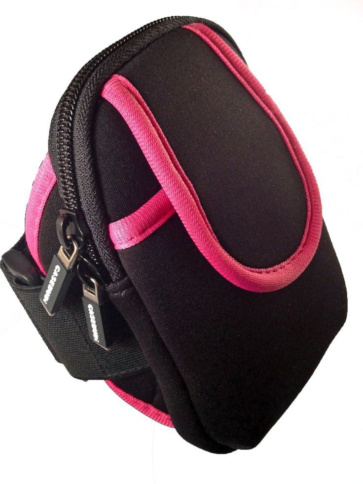 CASEBUDi Phone Armband Case - Pink Trim - Carry your cell phone and a few other necessities. Perfect case to hold cell phone and a few other items - keys, credit cards, license, chap stick, etc. With two pockets, this armband is perfect for going into the gym with your phone, keys, and ID. One velcro pouch can hold your cell phone, and the zippered side can hold your money, keys, GoPro Hero camera, or ID. Great armband for walking with a few items. Great armband to keep your cell phone...