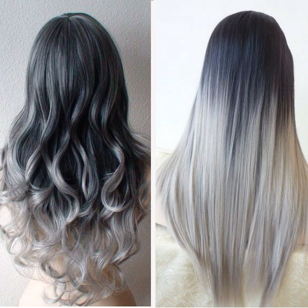 Silver Grey Balayage Ombre