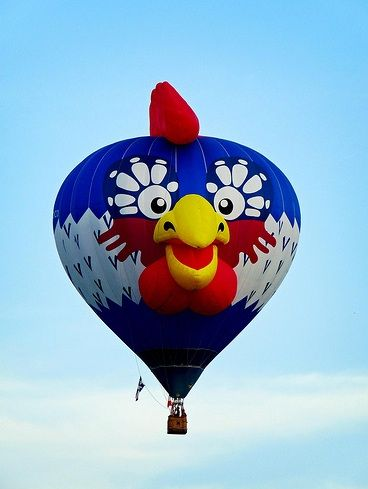 Rooster hot air balloon at the Bristol Balloon Fiesta, UK, in 2009 - photo by Mark, via Flickr, on Taildom