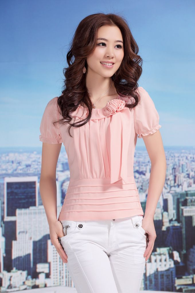 Layered Short Sleeve #Chiffon Blouse YRB 0415 Pink