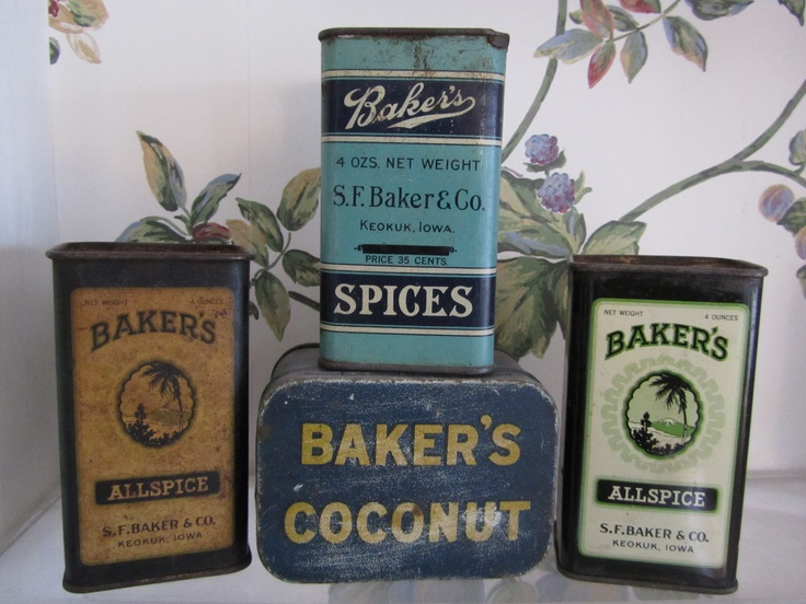 Bakers Spice Tins: Antiques Vintage Junk Lover, Labels, Spice Tins Containers, Avertising Tins, Bakers Spice, Vintage Tins Boxes, Food Drink Tins, Kitchen, Antique Tins