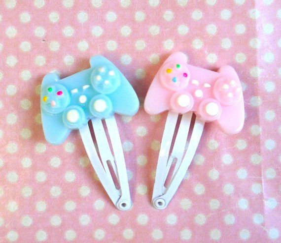 Kawaii Console Controller Hair Clips In Blue Or Pink Kawaii Hair Accessories Kawaii Hair Clips Gamer Girl Outfit