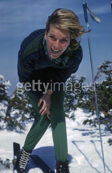 Nan Kempner on the slopes at Sugarbush, April 1960. Photo by Slim Aarons.