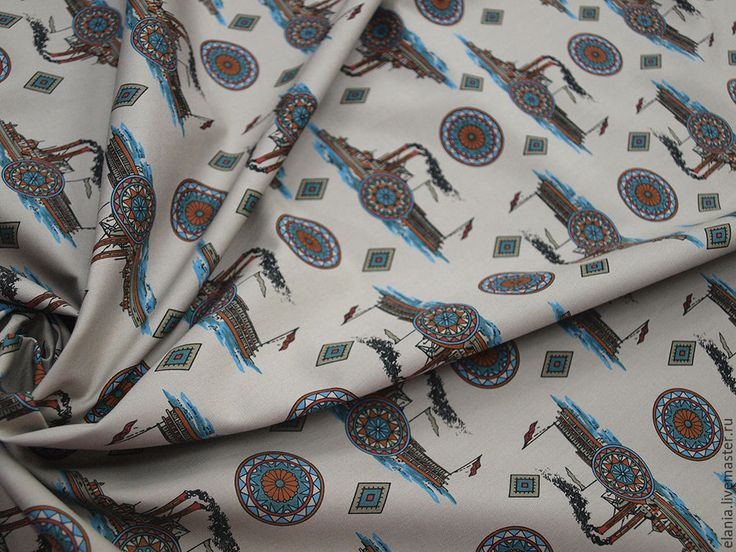 """Купить Хлопок """"Кораблики"""" - платье, ткань, ткань для шитья, ткань для одежды, ткани, хлопок, Шитьё"""