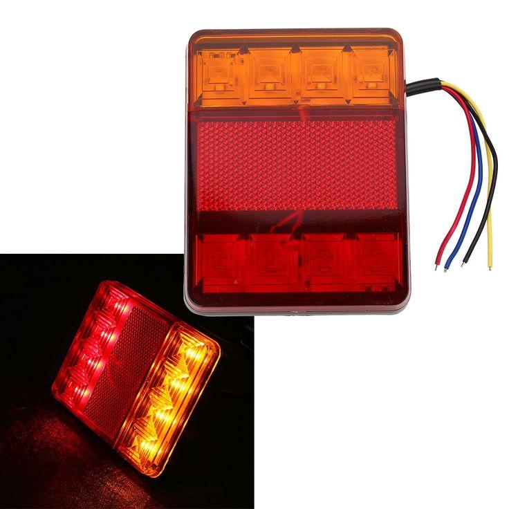 Waterdichte 8 LED Rood Geel Achterlichten Waarschuwingslampje 12 V voor Trailer Boot Auto Voertuig Licht Auto Styling
