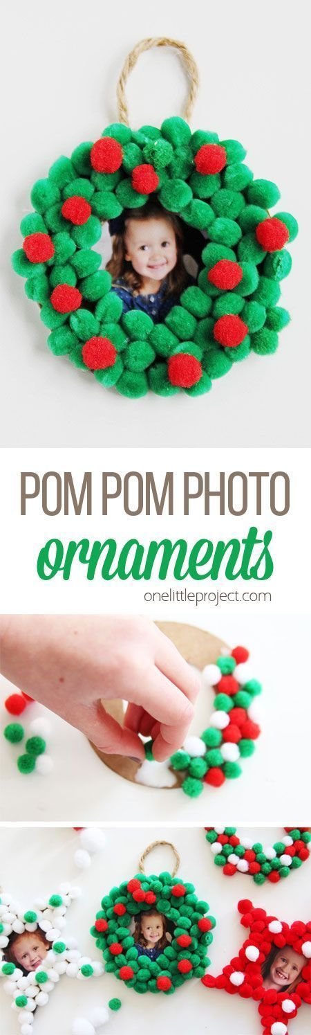 These pom pom Christmas photo ornaments are SO EASY for kids to make and would make the perfect addition to any tree this holiday! They're great for leftover school photos too! (Christmas Ornaments For Kids To Make)