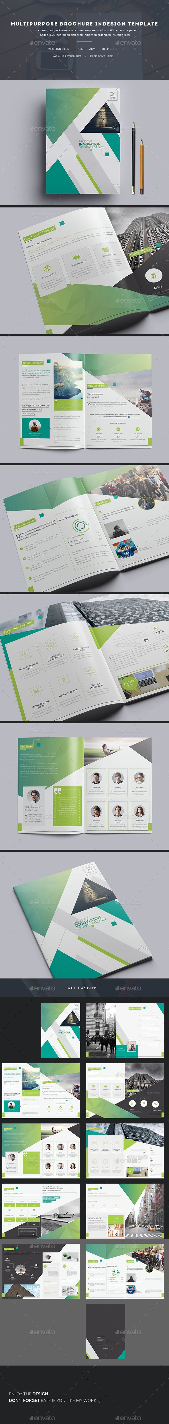 Multipurpose Brochure InDesign Template  — InDesign Template #clean #universal • Download ➝ https://graphicriver.net/item/multipurpose-brochure-indesign-template/18181920?ref=pxcr