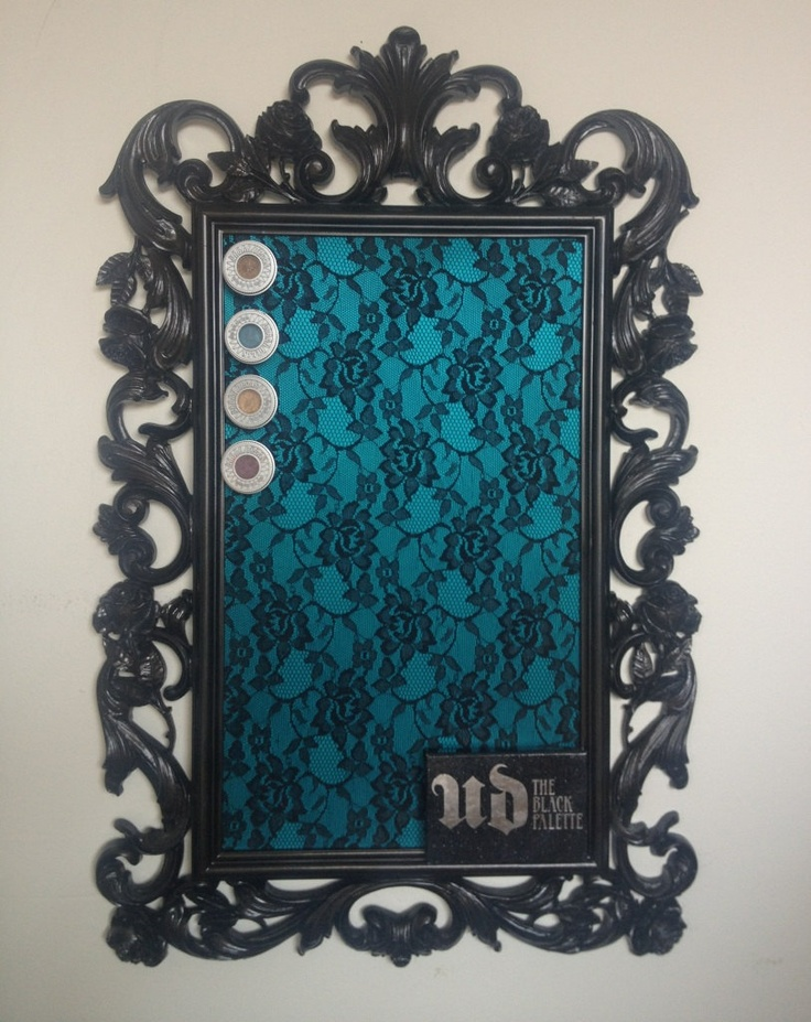 Black and teal lace with rose frame magnetic makeup board. $70.00, via Etsy.