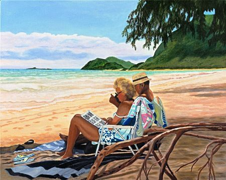 Palavras Cruzadas, Havaí, c. 2008 Judi A. Gorski (EUA, contemporânea) acrílica sobre tela