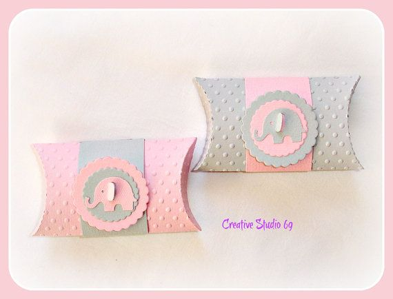 12 Light Pink & Grey Polka Dots Pillow Box with Elephant Tag- Candy Box - Favor Box - CHOOSE YOUR COLOR via Etsy