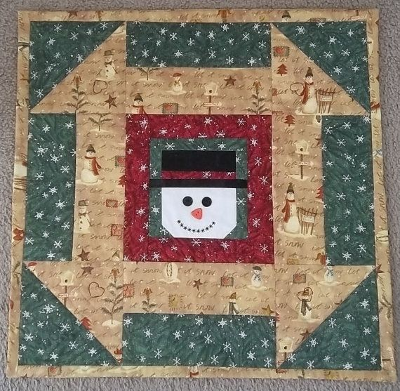 Smiling Snowman Table Topper  Wall Hanging by PatsysPatchwork, $25.00