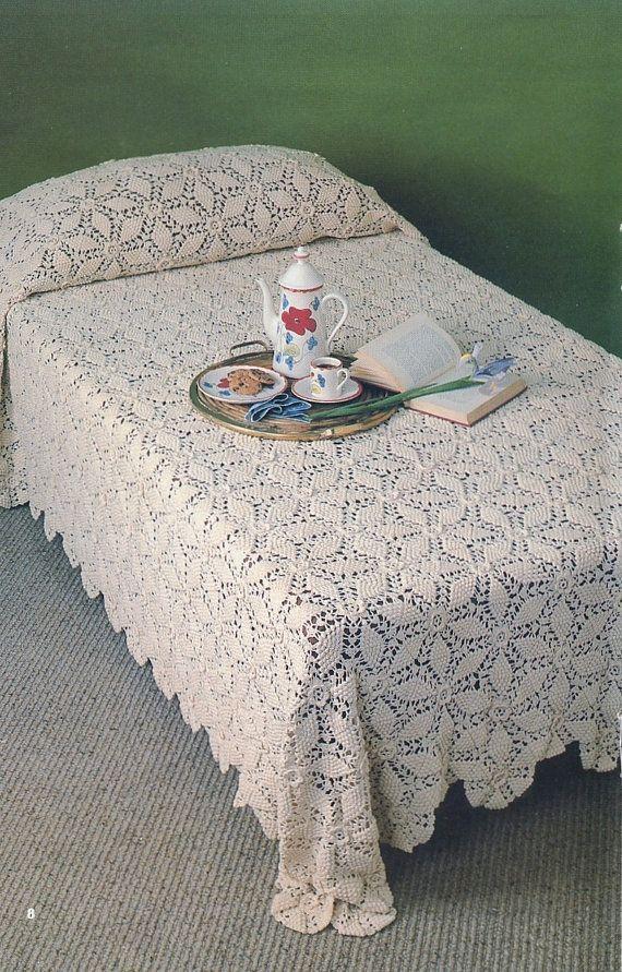 Bedspread A1014 Vintage Crochet Pattern Automatic by VintageEtsian, $4.25
